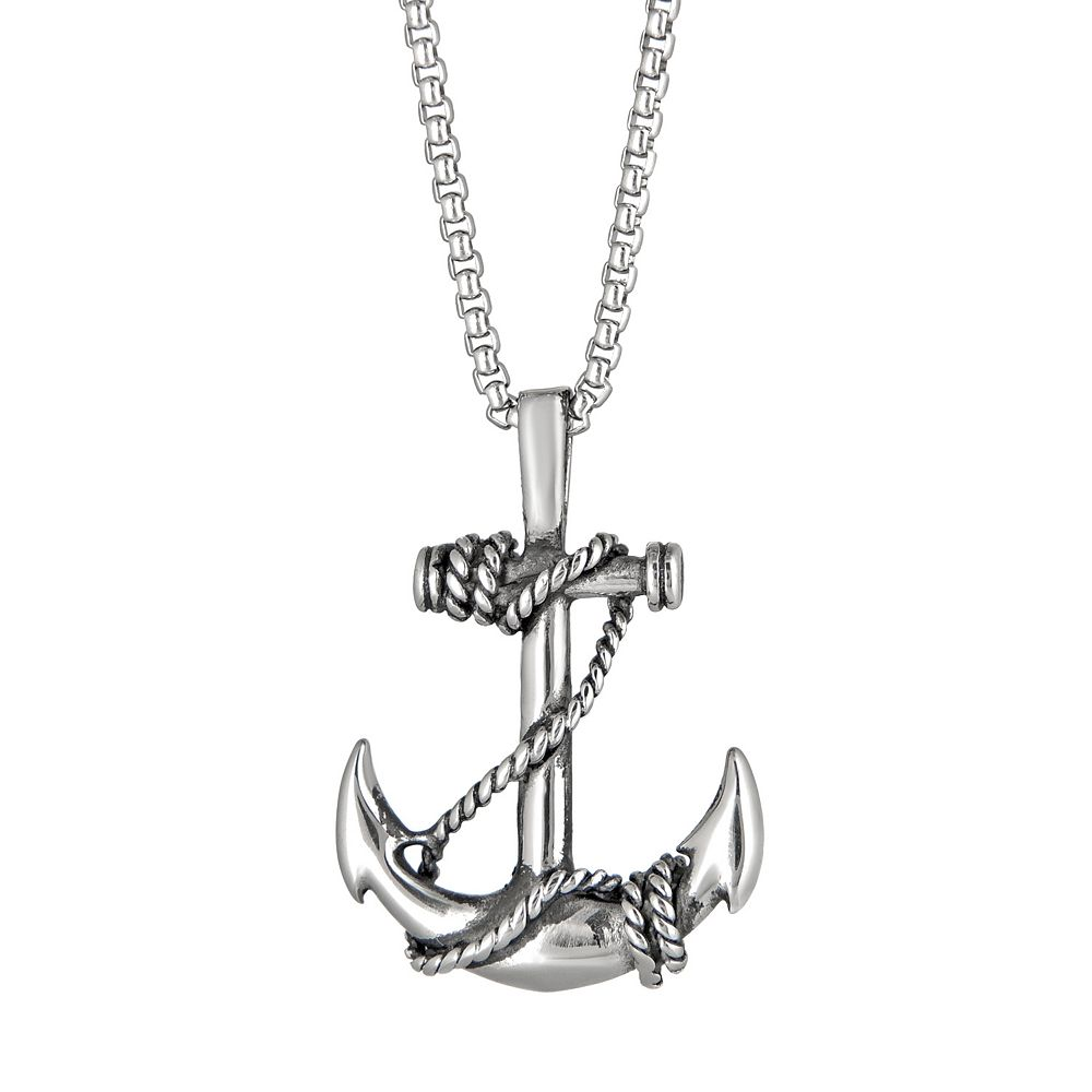 LYNXMen's Stainless Steel Anchor Pendant Necklace