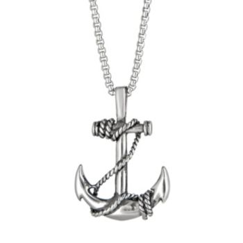 LYNX Men's Stainless Steel Anchor Pendant Necklace