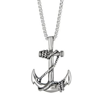 Lynx mens stainless steel anchor pendant necklace aloadofball Images
