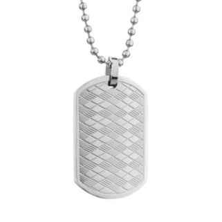 LYNX Stainless Steel Argyle Dog Tag Necklace - Men
