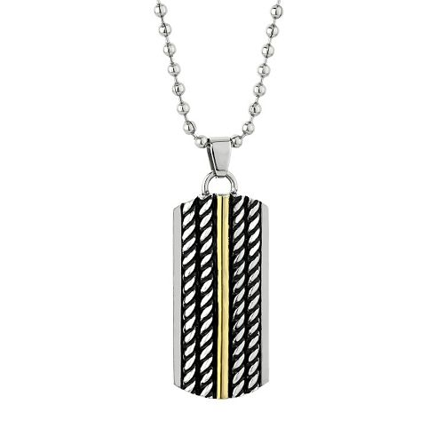 LYNX Stainless Steel Two Tone Twist Dog Tag Necklace - Men