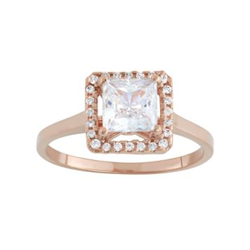 Cubic Zirconia 10k Rose Gold Square Halo Ring