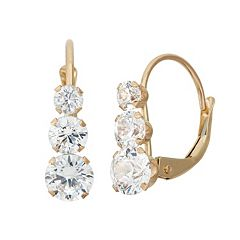 Cubic Zirconia 10k Gold Journey Drop Earrings