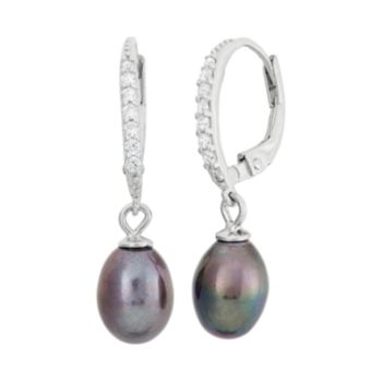 Dyed Freshwater Cultured Pearl & Cubic Zirconia Sterling Silver Drop Earrings