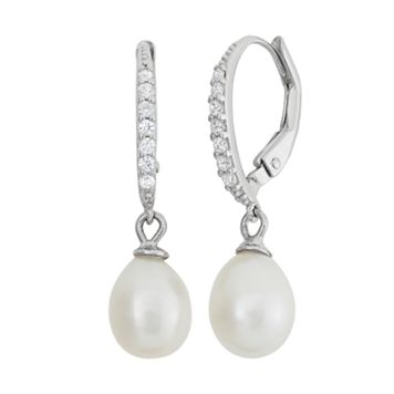 Freshwater Cultured Pearl & Cubic Zirconia Sterling Silver Drop Earrings