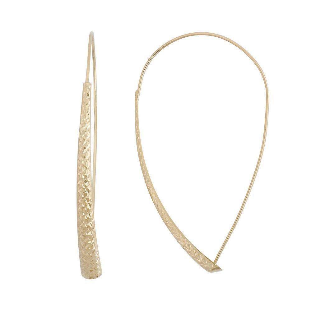 14k Gold Textured Threader Earrings