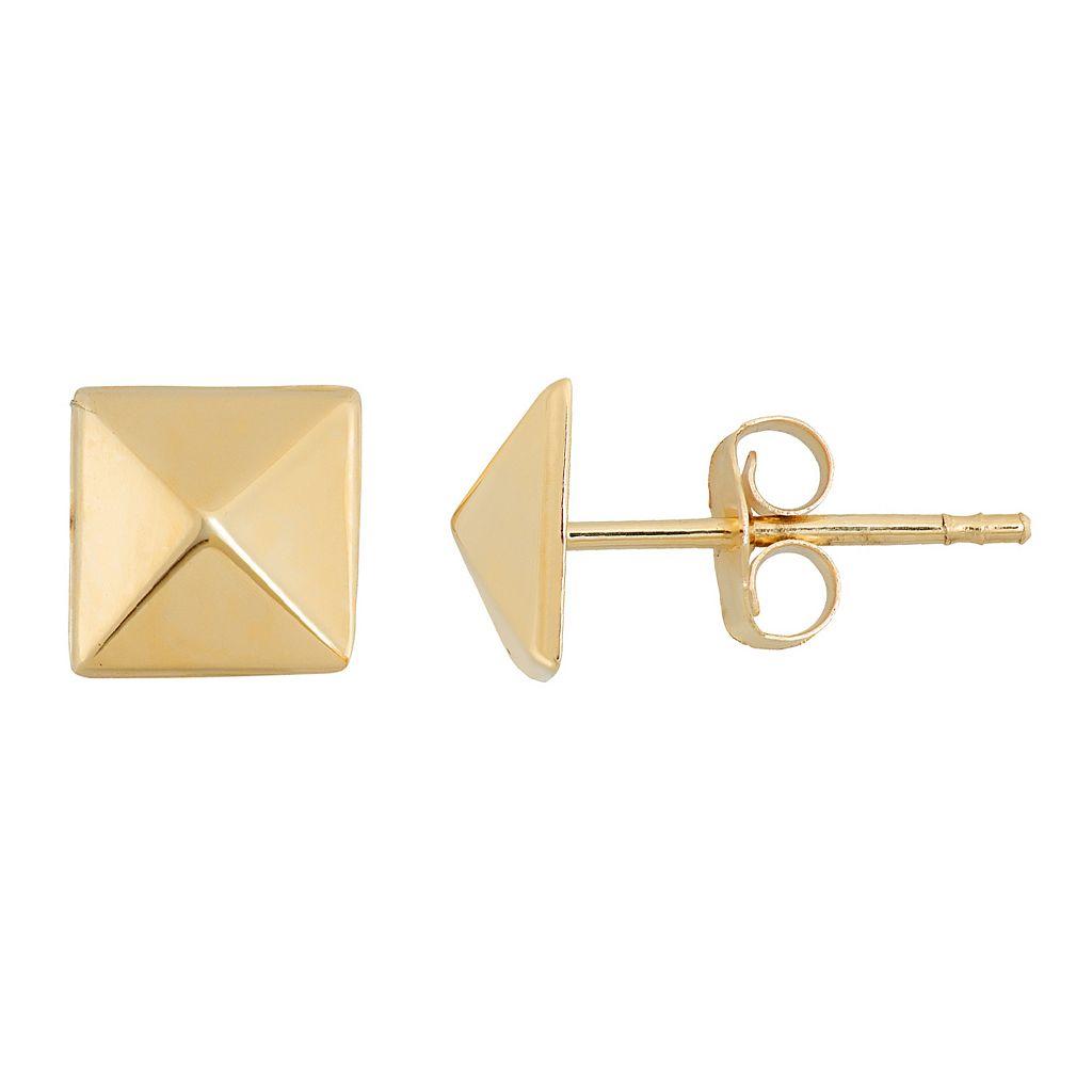 14k Gold Pyramid Stud Earrings