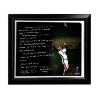 """Steiner Sports New York Mets Jesse Orosco 1986 World Series Last Out Facsimile 22"""" x 26"""" Framed Stretched Story Canvas"""