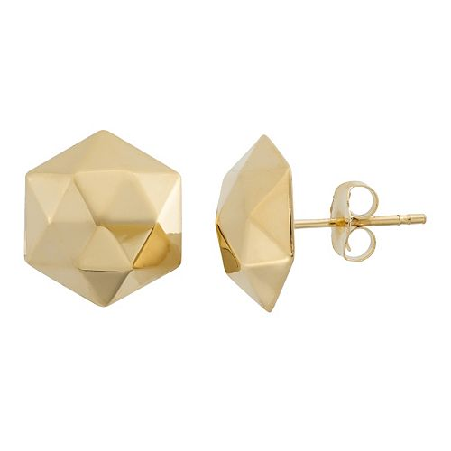 14k Gold Hexagon Stud Earrings