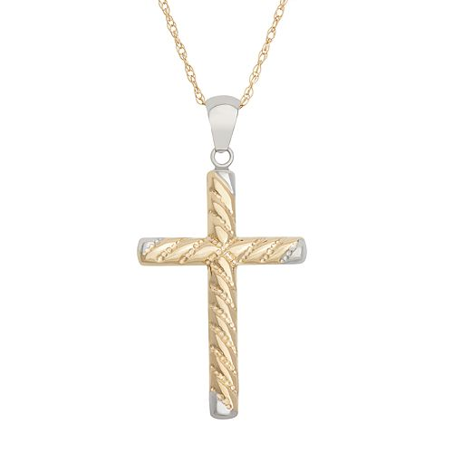 14k Gold Two Tone Textured Cross Pendant Necklace