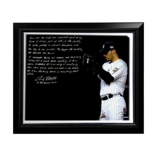 """Steiner Sports New York Yankees Andy Pettitte Postseason Focus Facsimile 22"""" x 26"""" Framed Stretched Story Canvas"""