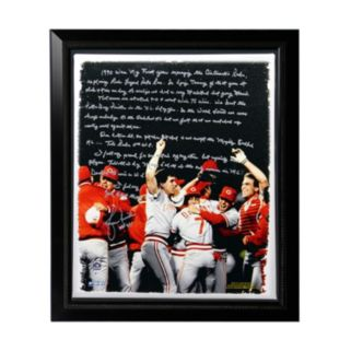 "Steiner Sports Cincinnati Reds Lou Piniella Reds World Series Facsimile 22"" x 26"" Framed Stretched Story Canvas"