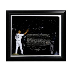 """Steiner Sports New York Yankees Mariano Rivera Last Game in Pinstripes Facsimile 22"""" x 26"""" Framed Stretched Story Canvas"""