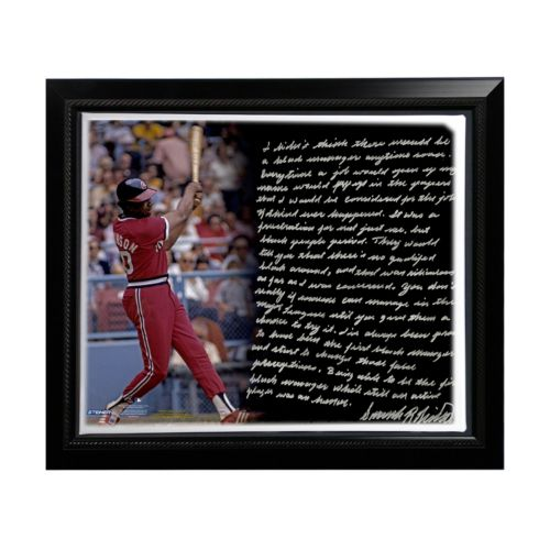 Steiner Sports Cleveland Indians Frank Robinson 1st Black Manager Facsimile 22″ x 26″ Framed Stretched Story Canvas