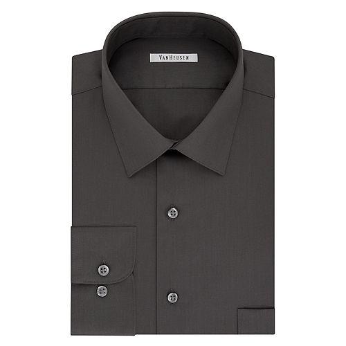 Big & Tall Van Heusen Regular-Fit Solid Lux Sateen No-Iron Spread-Collar Dress Shirt