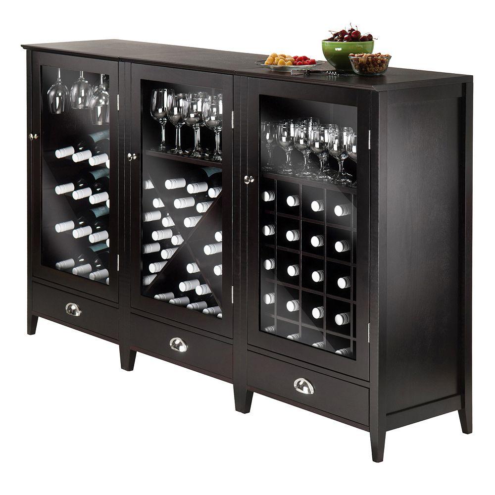 Winsome 3-piece Bordeaux Wine Cabinet Set