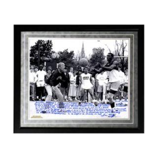 "Steiner Sports Notre Dame Fighting Irish Lou Holtz Basketball vs. Tim Brown Facsimile 16"" x 20"" Framed Metallic Story Photo"