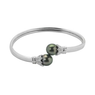 PearLustre by Imperial Tahitian Cultured Pearl & White Topaz Sterling Silver Bangle Bracelet