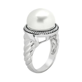 PearLustre by Imperial Freshwater Cultured Pearl Sterling Silver Twist Ring