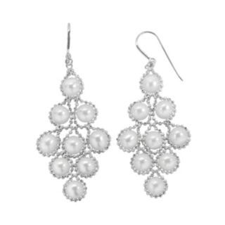 PearLustre by Imperial Freshwater Cultured Pearl Sterling Silver Imperial Lace Kite Earrings