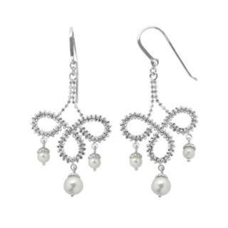 PearLustre by Imperial Freshwater Cultured Pearl Sterling Silver Imperial Lace Chandelier Earrings