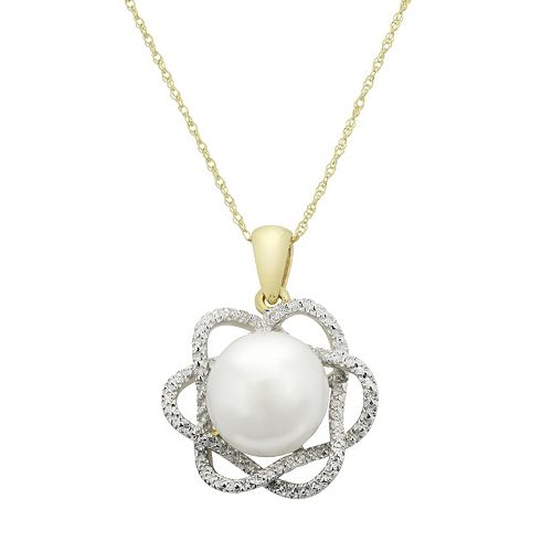 PearLustre by Imperial Freshwater Cultured Pearl & Diamond Accent 10k Gold Flower Pendant Necklace