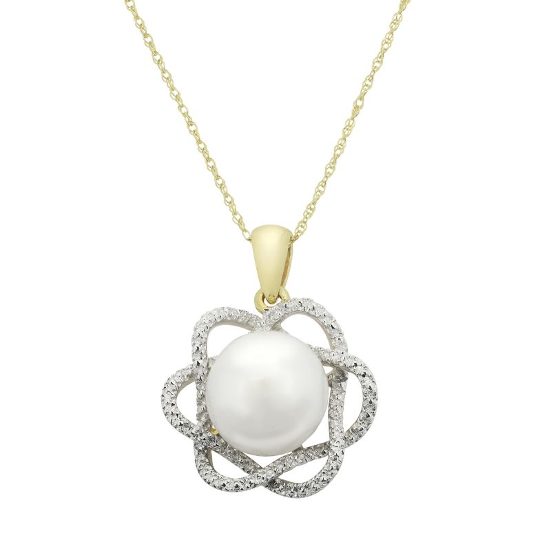 """PearLustre by Imperial Freshwater Cultured Pearl & Diamond Accent 10k Gold Flower Pendant Necklace, Women's, Size: 18"""", White"""