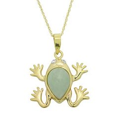 Jade & Diamond Accent 10k Gold Frog Pendant Necklace