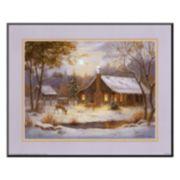 "Art.com ""Log Cabin with Deer"" Mounted Art Print"