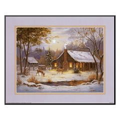Art.com 'Log Cabin with Deer' Mounted Art Print