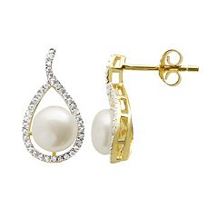 PearLustre by Imperial Freshwater Cultured Pearl Diamond Accent 14k Gold Over Silver Teardrop Stud Earrings