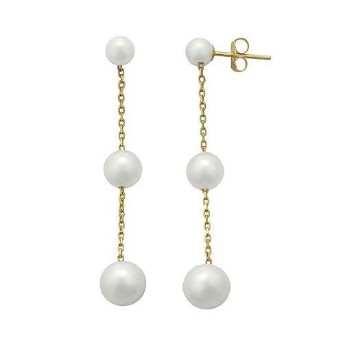 PearLustre by Imperial Freshwater Cultured Pearl 10k Gold Linear Drop Earrings
