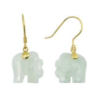 Jade 10k Gold Elephant Drop Earrings