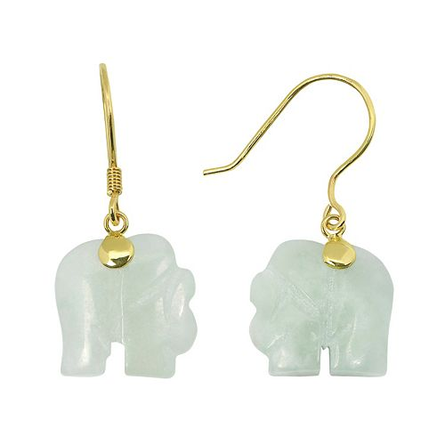 Jade 10k Gold Elephant Drop Earrings