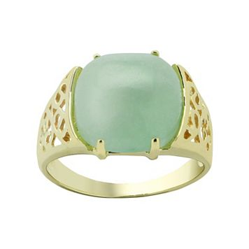 Jade 10k Gold Filigree Ring