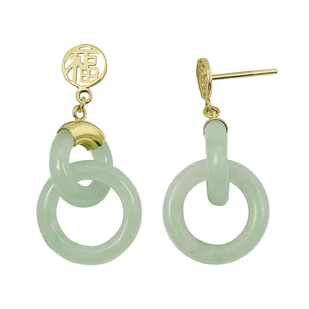 Jade 10k Gold Happiness Chinese Symbol Drop Earrings
