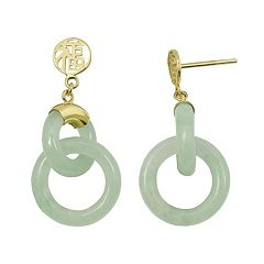Jade 10k Gold 'Happiness' Chinese Symbol Drop Earrings