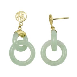 """Jade 10k Gold """"Happiness"""" Chinese Symbol Drop Earrings"""