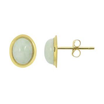 Jade 10k Gold Cabochon Oval Stud Earrings