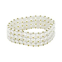 PearLustre by Imperial Freshwater Cultured Pearl 14k Gold Over Silver Bead Multirow Stretch Bracelet