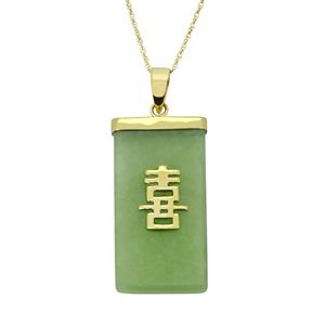 """Jade 10k Gold """"Happiness"""" Chinese Symbol Pendant Necklace"""