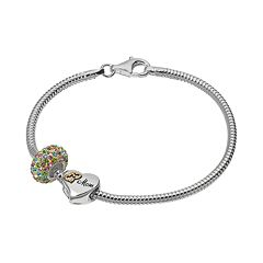 Individuality Beads Crystal Sterling Silver & 14k Gold Over Silver Snake Chain Bracelet & 'Mom' Heart Bead Set