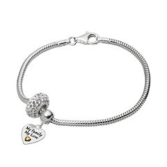 Individuality Beads Crystal Sterling Silver & 14k Gold Over Silver Snake Chain Bracelet & 'My Family My Love' Heart Charm & Bead Set