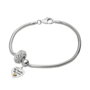 """Individuality Beads Crystal Sterling Silver & 14k Gold Over Silver Snake Chain Bracelet & """"My Family My Love"""" Heart Charm & Bead Set"""