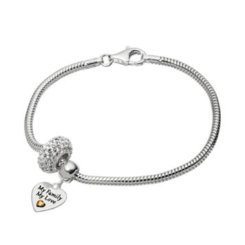 Individuality Beads Crystal Sterling Silver & 14k Gold Over Silver Snake Chain Bracelet &