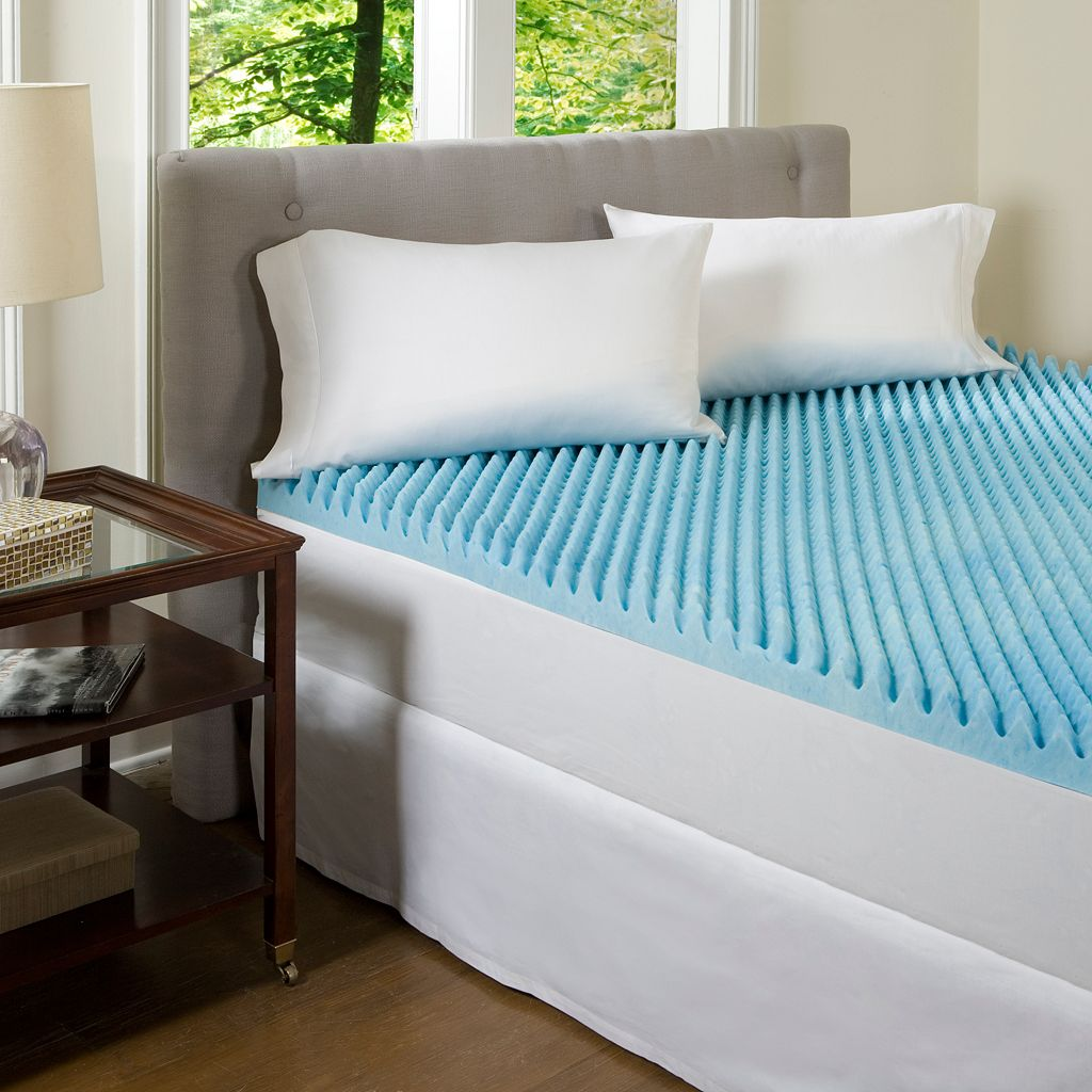 ComforPedic Beautyrest 4-in. Blue Textured Gel Memory Foam Mattress Topper