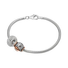 Individuality Beads Crystal Sterling Silver & 14k Rose Gold Over Silver Snake Chain Bracelet & 'Braver Stronger Smarter' Heart Bead Set