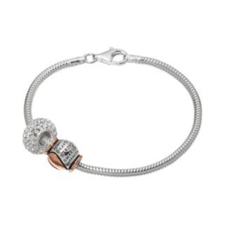 "Individuality Beads Crystal Sterling Silver & 14k Rose Gold Over Silver Snake Chain Bracelet & ""Braver Stronger Smarter"" Heart Bead Set"