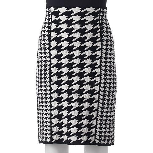 ELLE™ Houndstooth Pencil Skirt - Women's