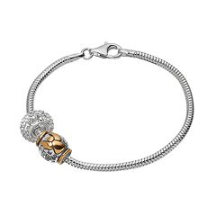 Individuality Beads Crystal Sterling Silver & 14k Gold Over Silver Snake Chain Bracelet & 'Guardian Angel' Bead Set